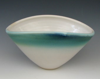 HANDMADE CERAMIC BOWL #9 stoneware bowls serving fruit pasta prep kitchen table bread centerpiece display dinning food safe white blue