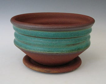 STONEWARE FLOWER POT #29 ceramic planter wheel thrown pottery handmade with drain window sill small tabletop cactus succulents indoor cactus