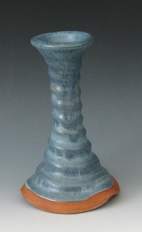 CERAMIC BUD VASE #3 Ceramic Candle Holder Tall Bud Vase Candlestick Blue Bud Vase Stoneware Candlestick Wheel Thrown Bud Vase, Handmade Vase