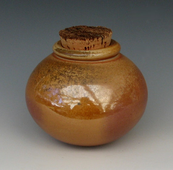 WOOD FIRED BOTTLE #16 stoneware bottle ceramic jar apothecary bottle wood fired pottery urn small centerpiece corked with cork ash glaze