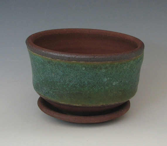STONEWARE FLOWER POT #31 ceramic planter wheel thrown pottery handmade with drain window sill small tabletop cactus succulents indoor cactus