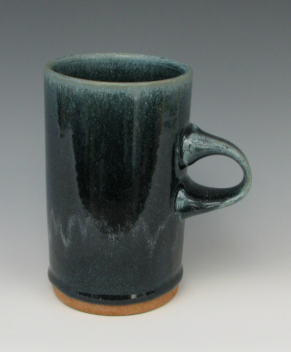 STONEWARE COFFEE MUG #11 Ceramic Mug Blue Handmade Pottery Cup Clay Pint Wheel Thrown Tall Food Safe Glaze Coffee Cups Blue Mugs Tea