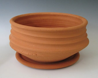 CERAMIC FLOWER POT #42 terracotta planter with saucer clay earthenware terra cotta unglazed pottery plants drainage flower Free Shipping