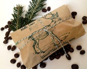 Stocking Stuffer. Set of 3. Freshly Roasted Coffee Party Favors. Hand-Stamped and Tied With Twine. Ready to ship.