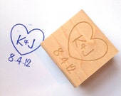 Custom Heart Stamp. Custom Initials and Date. DIY Wedding Decor  1.5""