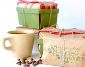 Unique Holiday Gift // Hostess Gift // Freshly roasted coffee gift set in vintage berry basket