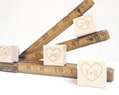 "Personalized Wedding Stamp. DIY Wedding Stamp. Custom Heart with Initials  1"" x 1"""