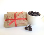 Chocolate Covered Espresso Bean Favors. Stocking Stuffer. Set of 3. Ready to ship.