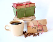 Christmas gift set. Rustic coffee gift sets in vintage berry baskets wrapped in burlap. Gift for him.