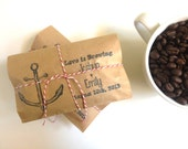 Beach Wedding Favors. Set of 50 coffee favors w/ Custom Stamp. Freshly roasted to order. Nautical wedding. Destination wedding.