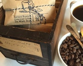 Custom Spring Wedding Favors. Freshly Roasted Organic Coffee. Set of 50 with Custom Stamp.