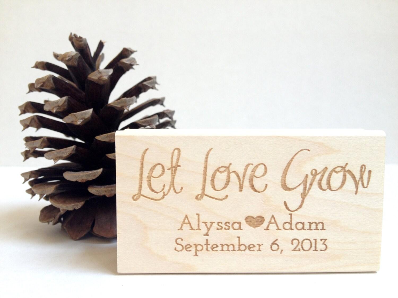Let Love Grow. Custom Stamp. 1.5x3 Wedding