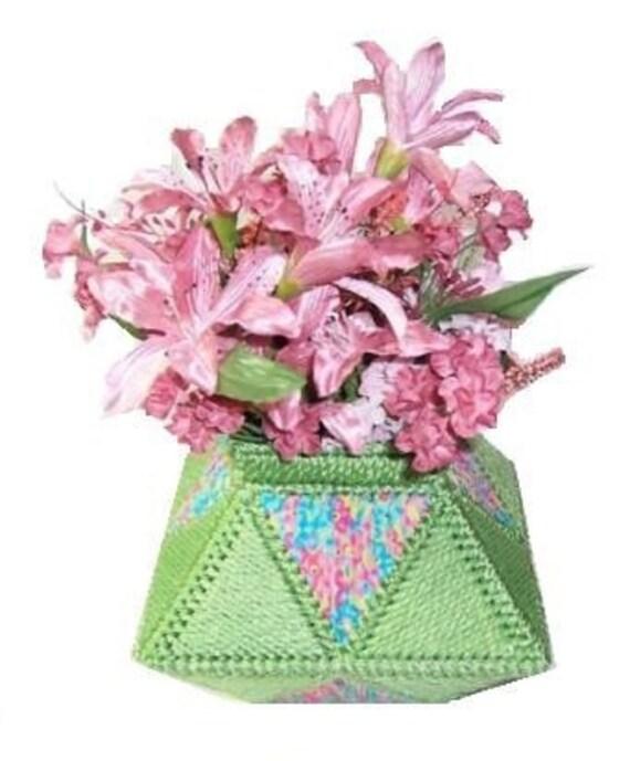 Plastic Canvas Pretty Flowers Vase Instant Download Etsy