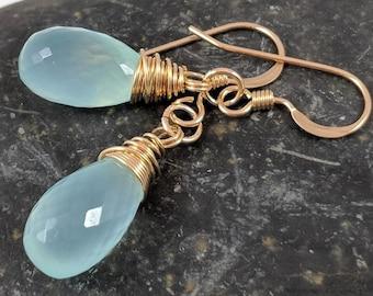 Chalcedony Wire wrapped Earrings, Aqua Blue Chalcedony Gemstone Briolette, Teardrop Bead Dangle Earrings