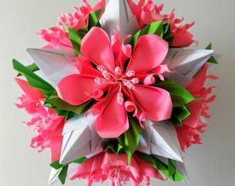 3d origami kusudama little rose with gerbera flowers table etsy 3d origami kusudama tornillo with flowers table decoration mightylinksfo