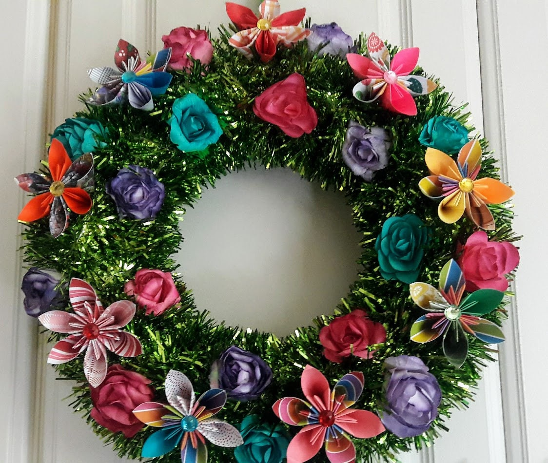 3d Origami Flower Wreath With Led Lights 14 Green Etsy