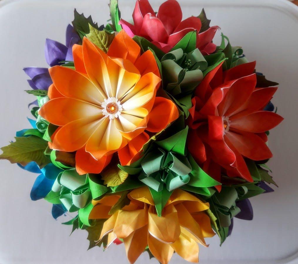 3d Origami Flower Ball 3 Etsy
