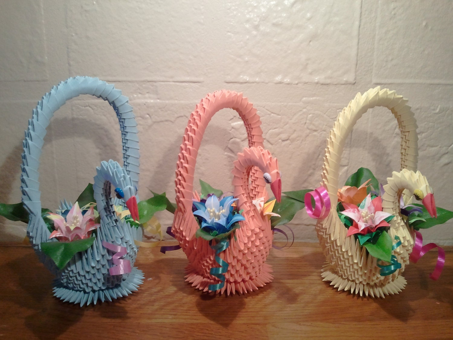 3d Origami Swan Basket With Flowers Etsy