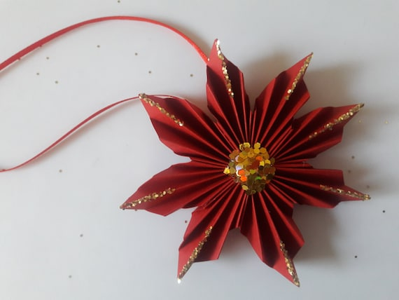 3d Origami Poinsettia Ornament Etsy