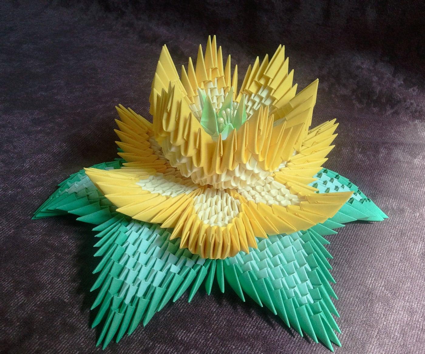 Tutorial how to make 3d origami lotus flower etsy zoom izmirmasajfo