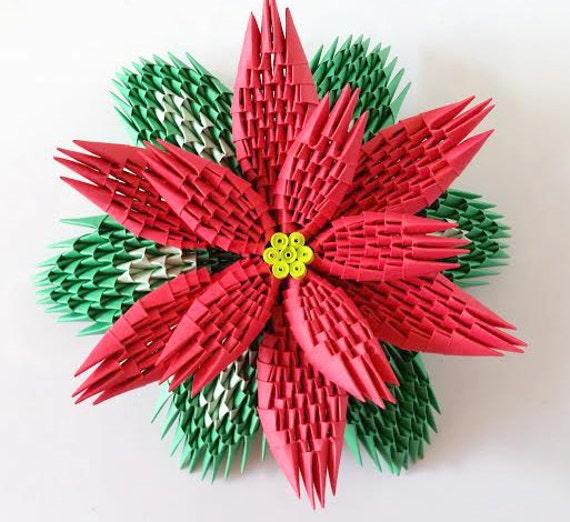 3d Origami Poinsettia Etsy