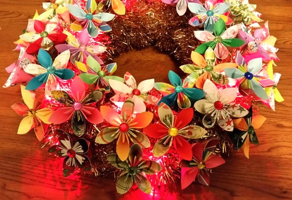 3d origami flower wreath with led lights 16 etsy image 0 mightylinksfo