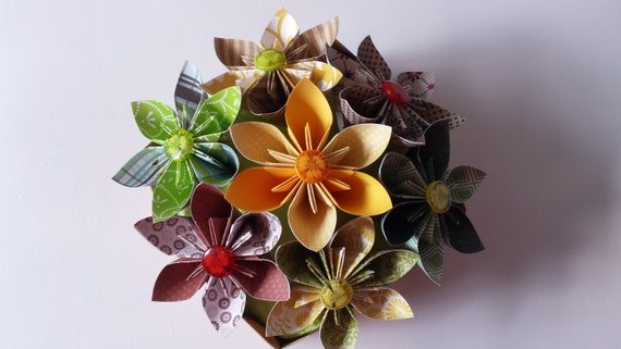 3d Origami Star Flowers In Box Etsy