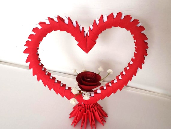 3d Origami Heart With Flower Etsy