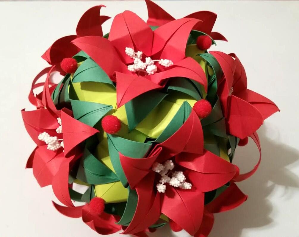 3d Origami Kusudama Poinsettia Etsy