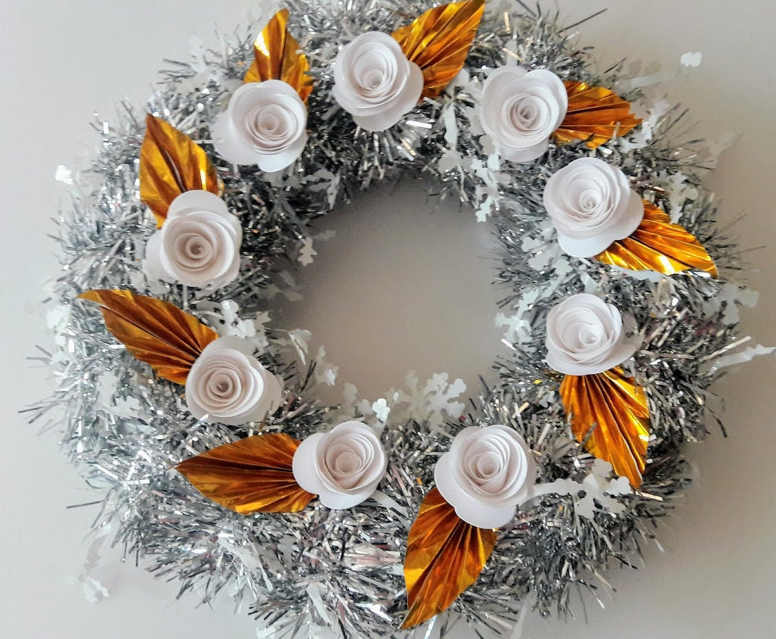 3d Origami Flower Wreath 10 Silver Etsy