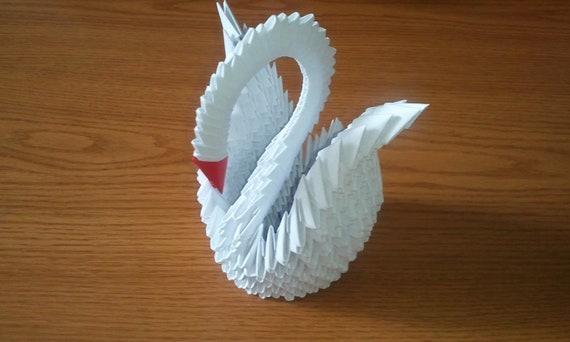 3d Origami White Swan Etsy