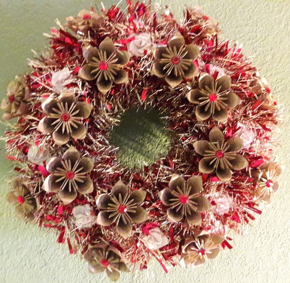 3d origami flower wreath with led lights 14 red etsy image 0 mightylinksfo