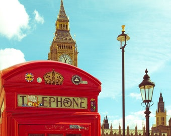 Big Ben Photo, London Photography, Parliament,  England Print, Travel Photography, Red Phone Booth, Architecture Photo, British Culture