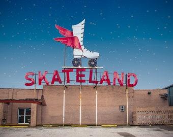 Roller Skating Photo, Neon Sign Art, Colorful Photo, Roller Skate, Memphis, Dorm Decor, Home Decor, Print, Wall Art
