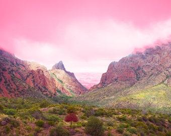 West Texas Photo, Big Bend National Park, West Texas, Landscape Photography, Pink, Surreal, Nature, Desert Decor, Mountains, Chisos Basin