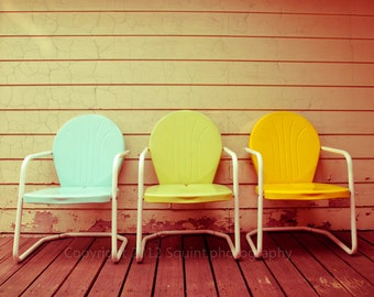 Still Life Photograph, Vintage Patio Chairs, Retro Wall Art, Home Decor, Mid Century Modern, Fine Art Print, Fine Art Photography, Mod Decor
