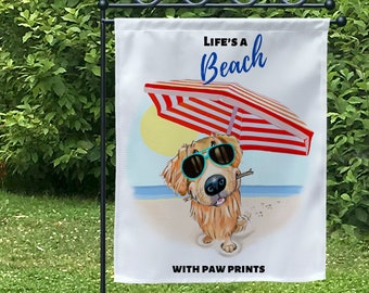 Golden retriever art on yard flags, lawn signs, beachy decor, welcome flag, lake house sign, dog flags, garden flag, golden retriever puppy