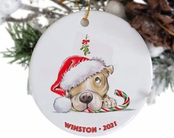 Tan Pitbull personalized hanging ornament, dog ornaments Etsy, pet memorial, Pitbull mom, dog loss, dog themed decor, pitty, Pit bull