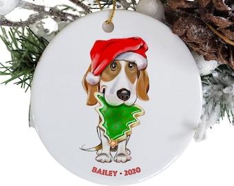 Beagle ornament personalized, round ceramic dog ornaments, dog Santa Claus hat, pet parent, secret Santa gift, dog loss memorial
