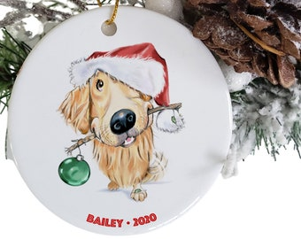 golden retriever hanging ornament personalized, round ceramic dog ornaments Etsy, pet parent gift, dog loss memorial, dog stocking stuffer