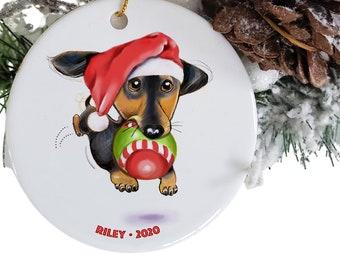 black dachshund ornament  personalized gift, memorial dog ornaments, custom pet ornament, adopt a pet, dachsund ceramic ornament, doxie mom