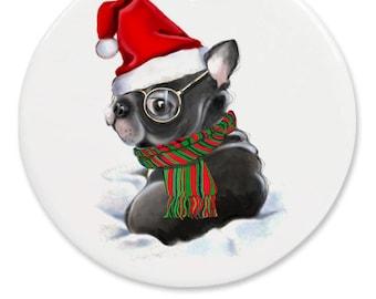 Black French bulldog ornament personalized, round ceramic pet ornament, pet parent, dog grandma gift, dog wearing glasses, puppy ornament