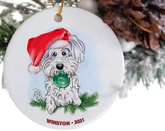 Maltese ornament with name and year, shih tzu ornament, dog ornaments Etsy, memorial pet ornament,, Christmas dog theme, pet loss gift