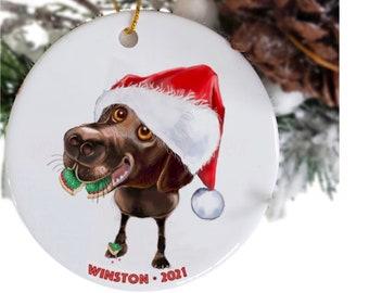 chocolate lab retriever ceramic dog ornaments with name Etsy, personalized gift, Labrador retriever memorial pet ornament, dog themed decor