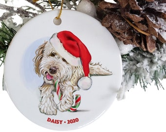 goldendoodle or labradoodle ornament personalized, dog ornaments Etsy, dog memorial, round ceramic white golden doodle ornaments, doodle mom