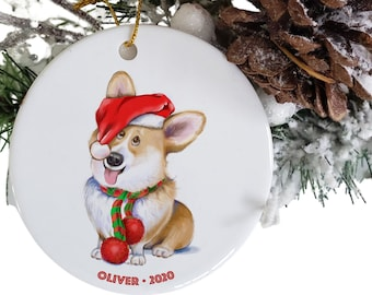 Corgi mom personalized dog ornament Etsy, Corgi dad round ceramic pet ornaments, corgi gifts, pet parent gift, pet loss