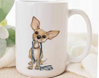 Chihuahua art on dog mug for Mother's Day gift, tiny dog. Chiwawa personalized pet mug, dog lover, ceramic coffee cup, coffee mug