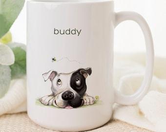 Pitbull mom dog mug with fun art, black and white pit bull, personalized pitbull gifts, ceramic coffee cup, pet mug, dog lover, 2 sizes