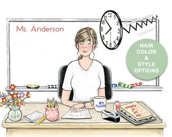 Custom Teacher Notepad With Hairstyle and Hair Color Options    Teacher at Her Desk   Teacher Gift   Teacher Humor   Back to School
