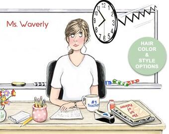 Custom Teacher Gift Print with Teacher at Desk   Teacher at Her Desk Humor   Teacher Gift